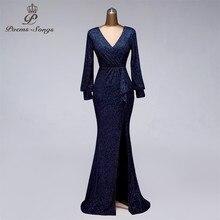Party Dress Prom-Gowns Sequin Formal Robe-De-Soiree Long-Sleeve Side Open Slit Vestido-De-Festa