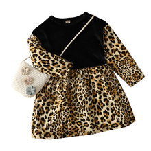 Baby Girl Corduroy Dress Autumn Winter Long Sleeve Infant Kids Clothes Leopard Print Toddler Girl Dresses Patchwork Warm Dress