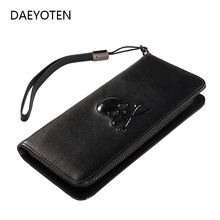 DAEYOTEN Punk Skull Leather Women's Wallet Luxury Ladies Purse Mens Wallets Clutch Money Bag Women Wallet 2019 Coin Purse ZM0385