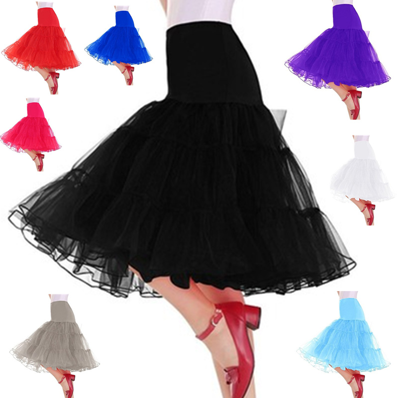 Women's Party Dance Midi Tutu Skirt Plus Size 6XL Elastic High Waist Mesh Vintage Skirt Rockabilly Petticoat A Line Tutu Skirt