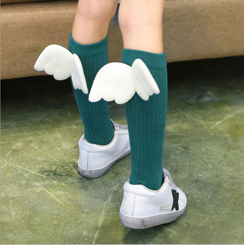 1 Pair Toddler Infant Kids Girls Angel Wings Knee Long Socks Baby Girl Princess Cotton Tube Socks Fashion New Sale Casual 1-10T