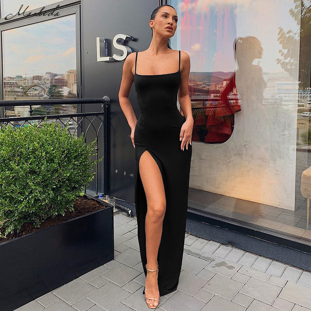 Kendall Jenner Outfits Women Spaghetti Strap Dress Autumn Sexy Split Solid Slim Lady Ankle Length Vintage Wear Dress