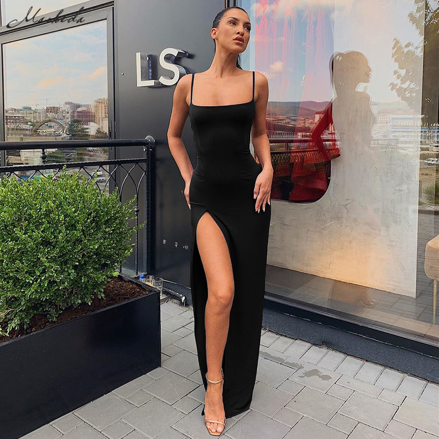 Macheda Autumn Women Spaghetti Strap Dress Autumn Sexy Split Solid Slim Lady Ankle Length Vintage Wear Dress 2019 New