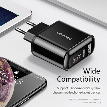 USAMS Quick Charge 3.0 USB Charger for iPhone LED Display Type-C PD QC 3.0 Fast Charger for Samsung Xiaomi Mobile Phone Charger 6