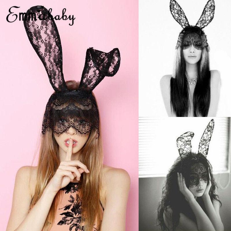 Черный сексуальный женский костюм на Хэллоуин для вечерние с кроличьими ушками