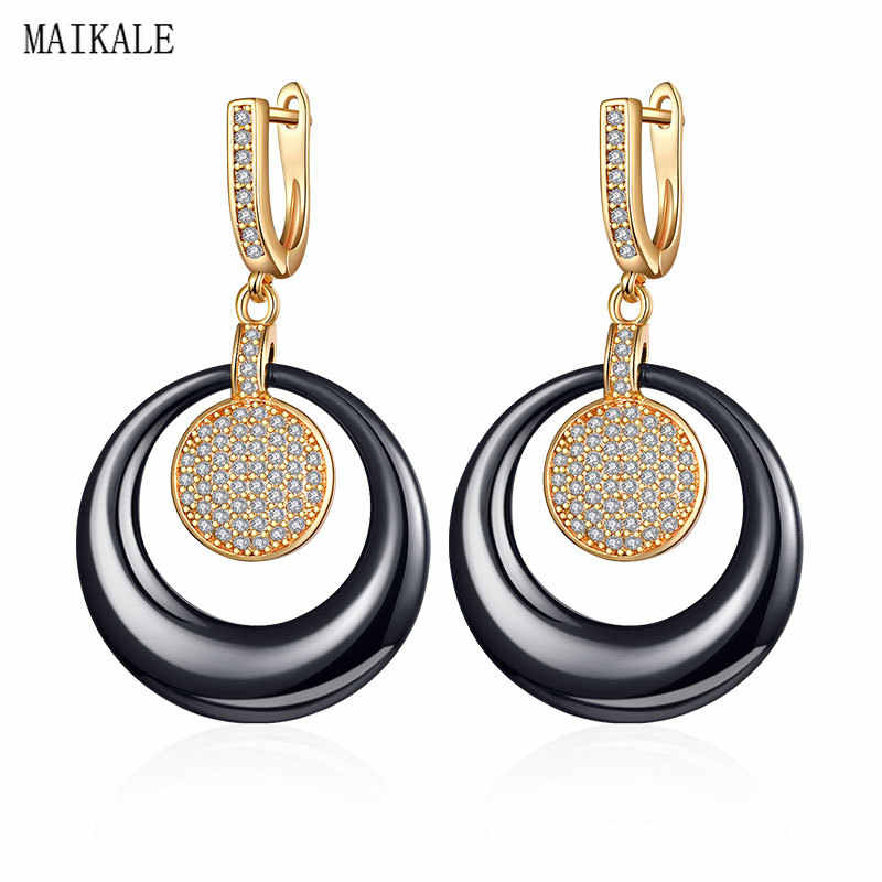 MAIKALE Luxury Black White Ceramic Earrings Paved Zirconia Gold/Silver Color Round Circle Drop Earrings for Women Jewelry Gifts