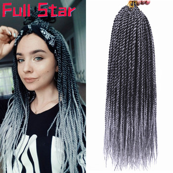 Full Star Senegalese Crochet Twist Braids 30 strands 1-7 pack 14' '18 '' Black Ombre Grey Synthetic Braiding Hair Extension - discount item  34% OFF Synthetic Hair