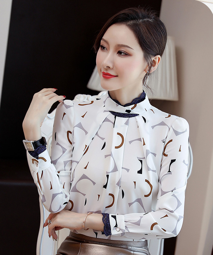 2019 new early autumn clothing design atmosphere small group collar long-sleeved printed chiffon shirt women