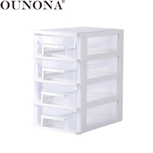 OUNONA 4 Layers Cosmetics Storage Box Transparent Desktop Drawer Makeup Organizer Home Office Table