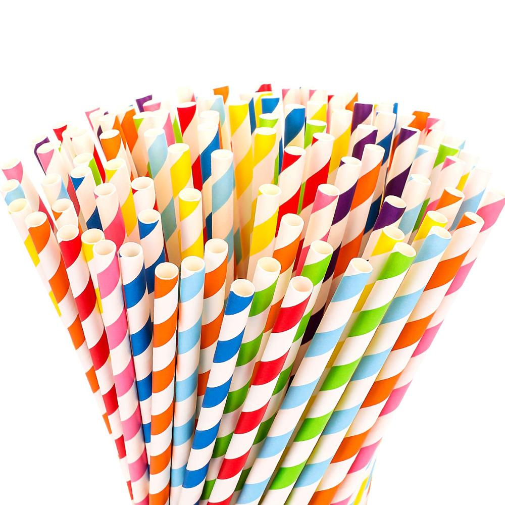 Paper Straws - Sangabery 25Pcs Biodegradable Colorful Stripe Paper Drinking Straws For Juices,Smooth,Shakes,Christmas,Party