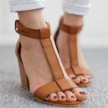 Women's Sandals Summer 2020 European T-Strap high heels Sandals