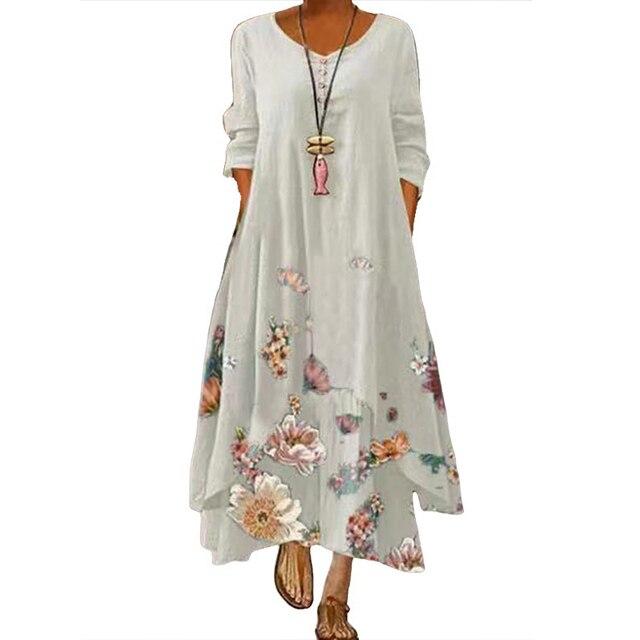 2021 Elegant Flowers Print Long Sleeve Spring Summer Dresses Casual O Neck Loose Women Dress Vintage Party Vestidos Long Dresses 4