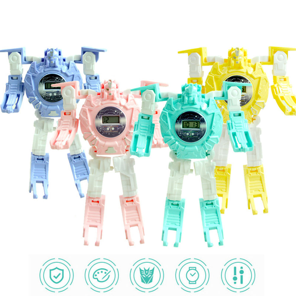 Kids Cartoon Toy Watches Transformation Robot Electronic Watch Deformation Robot 360°Ratation Date Time Puzzle Toys