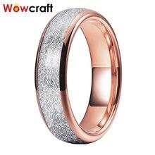 Розовое золото Вольфрам 6 мм белый метеорита обручальное кольцо