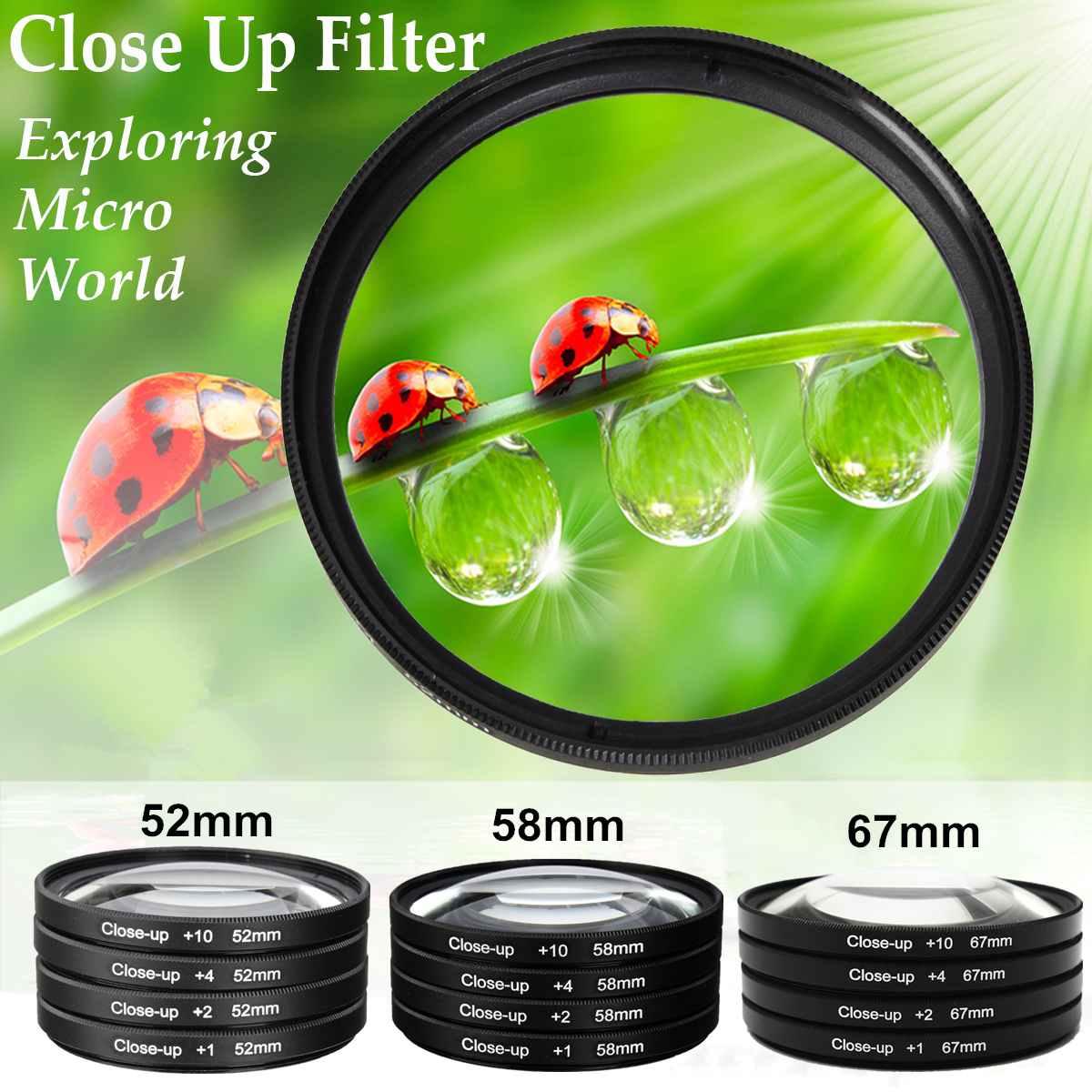 Новый 52/58/67 мм Макро Объективы Набор фильтров для съемки крупным планом + 1 + 2 + 4 + 10 Комплект фильтров для объектива Цифрового Фотоаппарата canon...