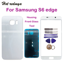For Samsung Galaxy S6 Edge G925 G925F Touch Screen front Outer Glass Replacement+Rear Back Battery Door Housing Cover+ Tool front back cover replacement for symbol mc65 mc659b