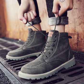 DEKABR Men Winter Leather Boots High Top Snow Boots Breathable Man Flats Waterproof Working Ankle Boots Motorcycle Shoes