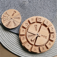 Relojes de aprendizaje Montessori para niños, juguetes educativos de madera Natural con números