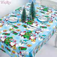 FENGRISE Santa Claus Tablecloth Merry Christmas Table Decor For Home 2019 Navidad Ornament Xmas Party Decor Happy New Year 2020