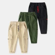 New Autumn Kids Boys Pants Fashion Cotton Patch Pocket Children Elastic Waist Sports Long Pant Korean Versatile Trousers