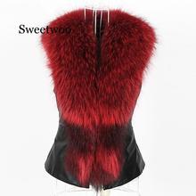 Women PU Leather Faux Fur Coat 2020 Casual Plus Size Sleeveless Faux Fox Fur Collar Vest Winter Jacket Coat Women 4XL faux fur collar zip up pu leather padded coat