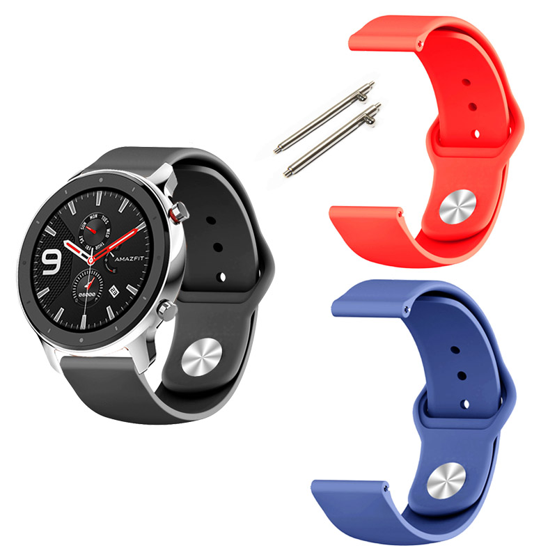22mm Bracelet Strap For Xiaomi Amazfit GTR 47mm Pace Stratos 2/3/2s Band For Samsung Galaxy Watch Active 46mm Silicone Watchband