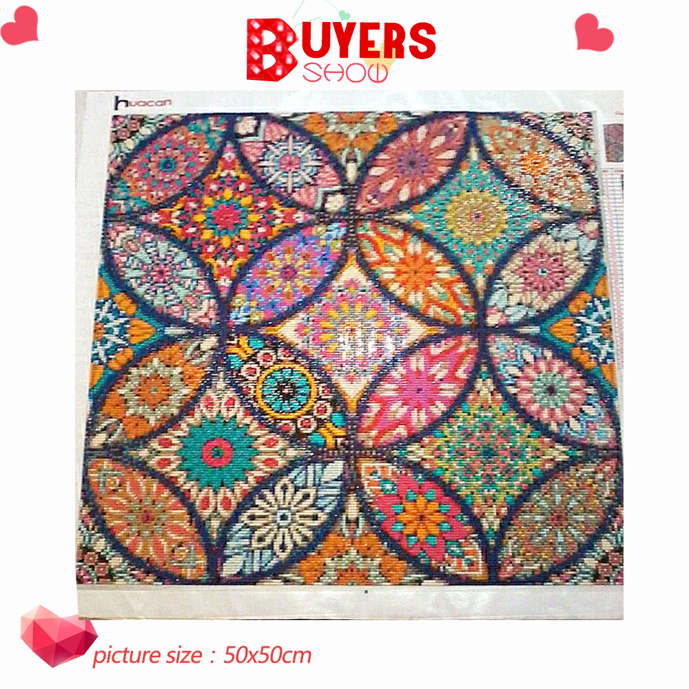 25x25cm 5D Cross Stitch Special Shaped Diamond Painting Embroidery Bright Color