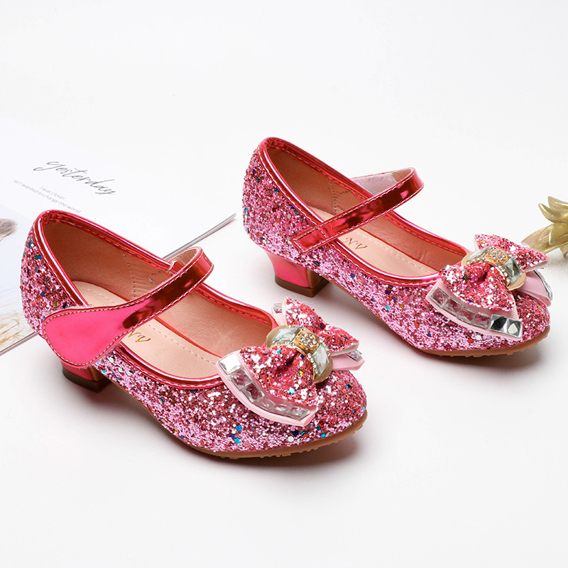 Girls High-heeled Shoes, Sequined Princess Dress Shoes Children's Big Virgin Girl Soft Soled Shoes