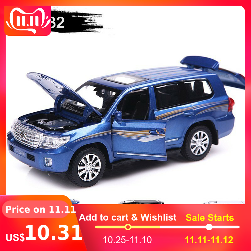 1:32 15cm Toyota Land Ctuiser Alloy Off Road Vehicle Car Model Toy SUV 4 Open Doors Pull Back Metal Car Toys For Boy Collections