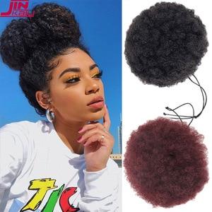 JINKAILI афро-кудрявый парик с высоким слоем, хвост, шнурок, короткий афро кудрявый хвост пони, клип на синтетическую прическа гулька волосы для ...