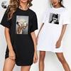 Plus Size Women Summer Dresses Elegant Beauty Print Short Sleeve T-shirts Casual Loose Mini Woman Dress Tee Vestido Mujer Robes 1