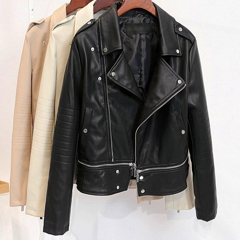 2019 autumn new PU   leather   short   leather   jacket women high waist wild slim Korean version of the motorcycle women jacket B570