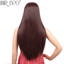 Long Straight Hair Synthetic Cosplay Wig Glueless Middle Part