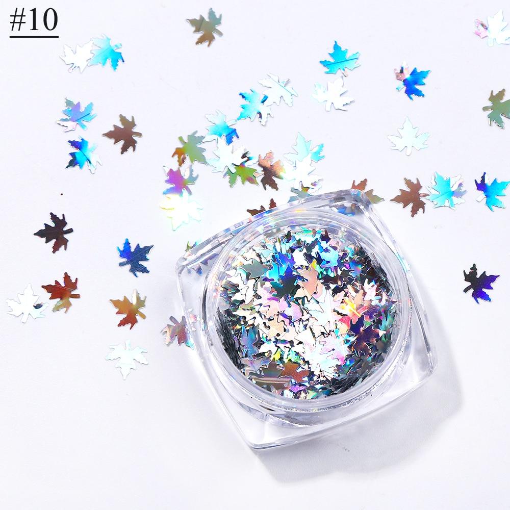 """1 коробка кленовые листья дизайн ногтей голографические блестки наклейки """"хамелеон"""" для ногтей осенний дизайн Декор SA1528 - Цвет: 10"""