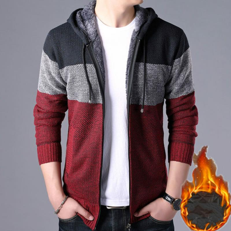 2020 Thick Cardigan Mens Sweater Zipper Striped Hooded Colorblocking Fashion Warm Slim Knitted Sweater Male Fleece Hoodies Coats 3