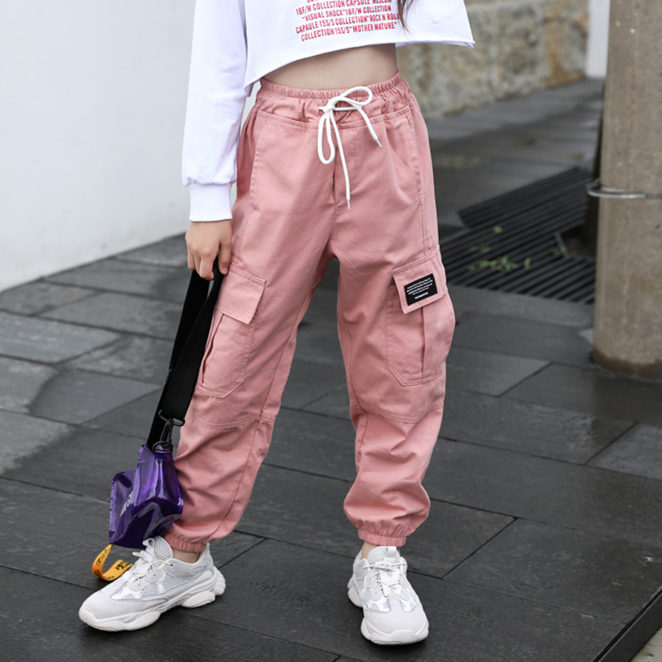 Cargo Pants For Girls Letter Sport Trousers Girl Patchwork Child Pants Casual Style Kid Clothes For Girls 6 8 10 12 14 4