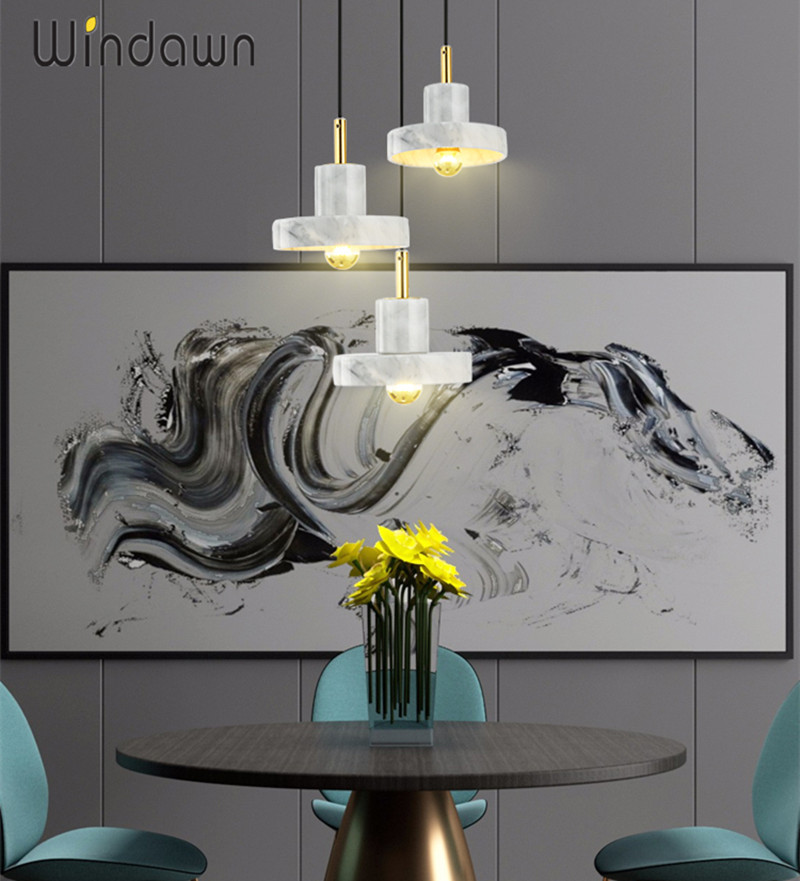 Windawn Nordic Pendant Lights Marble Ceiling Lamp Brass Hanging Lamp Classics Hotel Bedroom Living Room Office For Ceiling Lamp|Pendant Lights| |  - title=