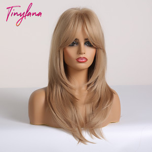 Image 4 - TINY LANA Ombre Brown Blonde Medium Length Straight Synthetic Wigs Layered Hairstyle  Wigs with Bangs for Women African Amer