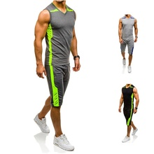 Zogaa 2019 Brand Fitness Suits Summer 2PC Top Short Set Mens Stand Collar Tracksuit Sleeve-less T Shirt Shorts Casual Fashion
