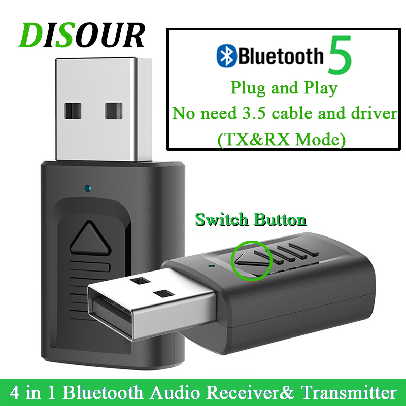 DISOUR USB Bluetooth 3.5mm Jack Audio Adapter 4 IN 1 Wireless Bluetooth Receiver Transmitter For TV Car PC NEWEST Stereo Dongle