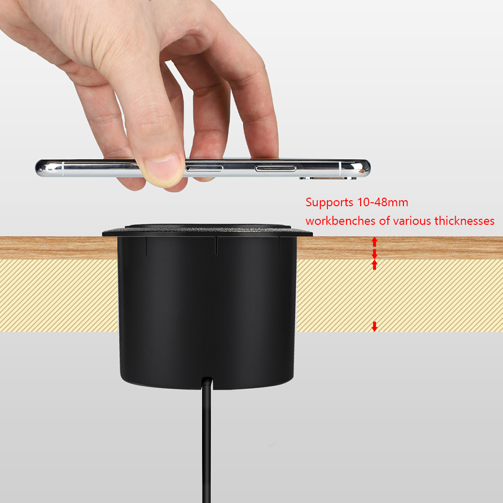 QI Wireless Charger Invisible Wireless Charger For iPhone 11 X Xs 8 plus Furniture Table Embedded Phone Charger For Samsung S10 3