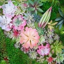 Зеленый красный Искусственные суккуленты в виде растения на свадьбу, домашний цветок для украшения сада аксессуары для бонсай растения ...