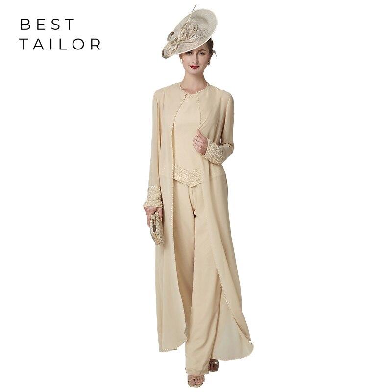 Hot Sale 2019 Mother Of The Bride Dresses For Wedding 3 Pieces Pants Suit Set Champagne Beadings Long Jacket Vestido De Madrinha