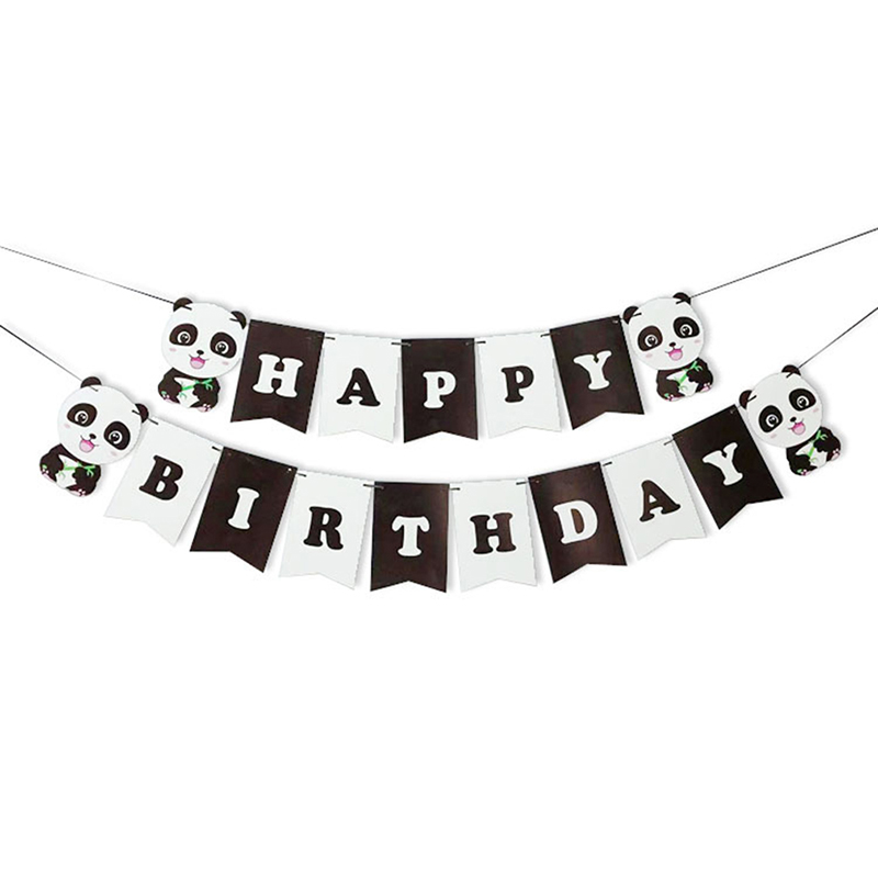 Balloons Decoration For Happy Birthday Cake Flag Banner Cartoon Panda Flag One Year Old Wedding Kids Christmas Gift