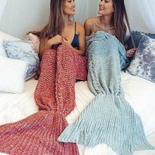 1PC Handmade crochet super soft mermaid blanket fish scale multicolor knitted mermaid tail blanket knitted cashmere sofa blanket knitted fishbone sofa wrap kids mermaid tail blanket