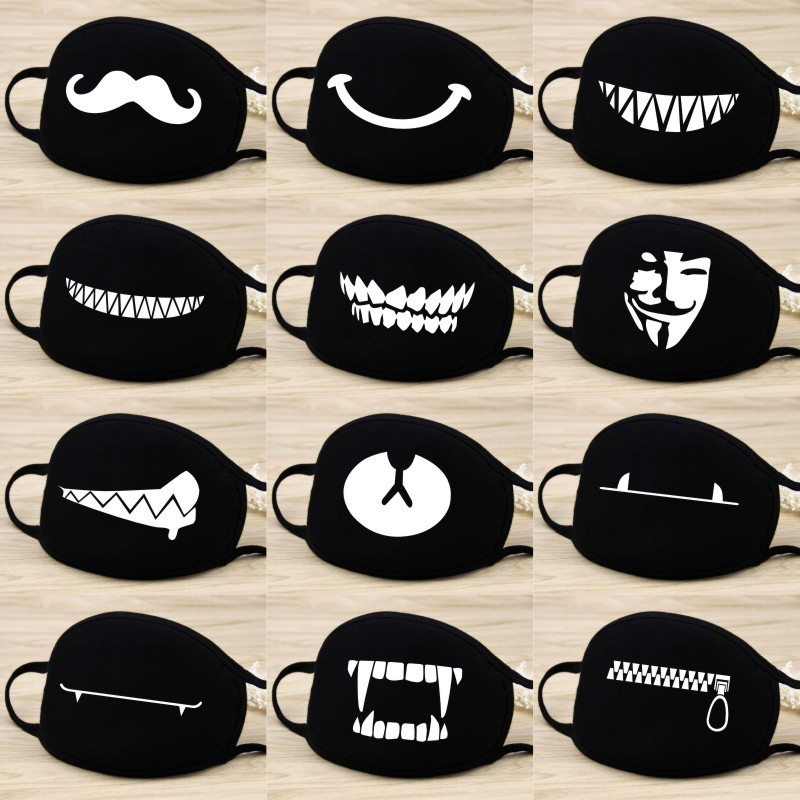 Mouth Face Mask Kawaii Cartoon 1PCS Black Cotton Dust Mask High Quality Cartoon Expression Lady Men Marvel Mask