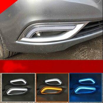 2PCS For Hyundai SONATA 2011~2014 Daytime Running Lights 12V DRL Fog Lamp with Yellow Turn Signal Light
