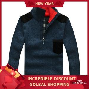 Winter Men's Turtleneck Sweater Half Zip
