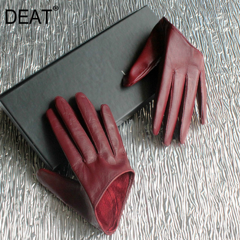 DEAT 2020 Autumn And Winter New Products Fashion Wine Red Women's Leather Half Palm Half Finger Sheepskin Gloves PB186