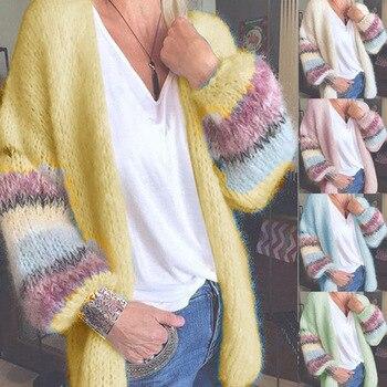 Trendy Knitted Cardigan Striped Mohair Sweater Fall Winter Soft Women Tops Long Sleeve Loose Coat Longue Jacket Outer Garment striped trim raglan sleeve jacket